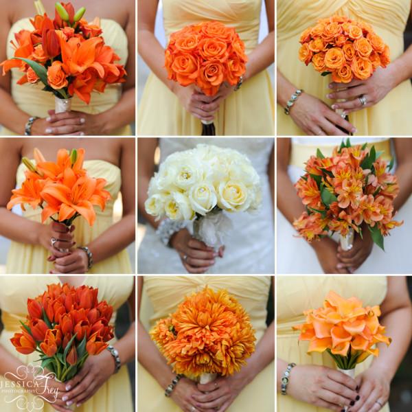 букеты на оранжевую свадьбу
