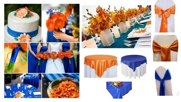 оранжевая синяя свадьба