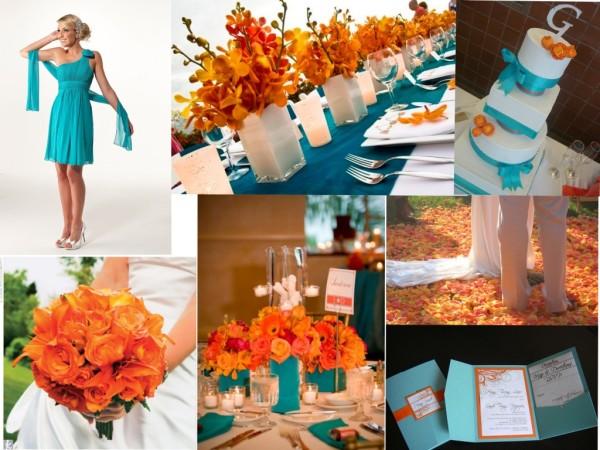 бирюзово-оранжевая свадьба