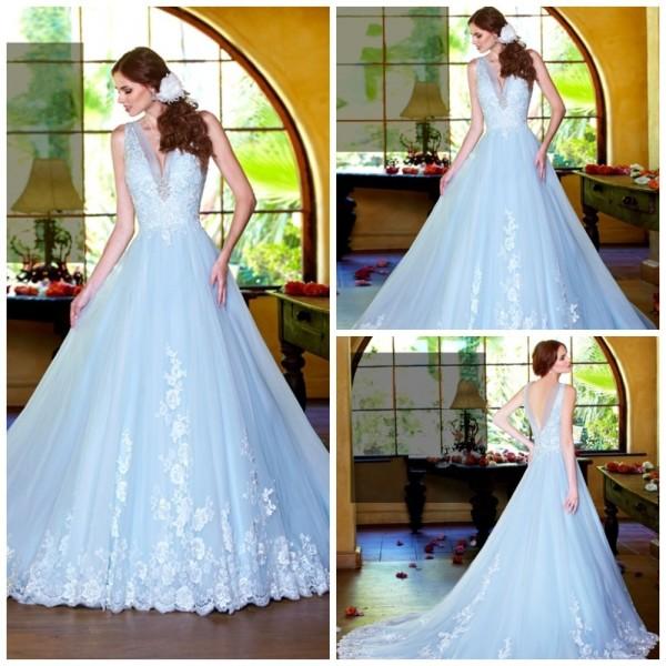 свадебное голубое платье