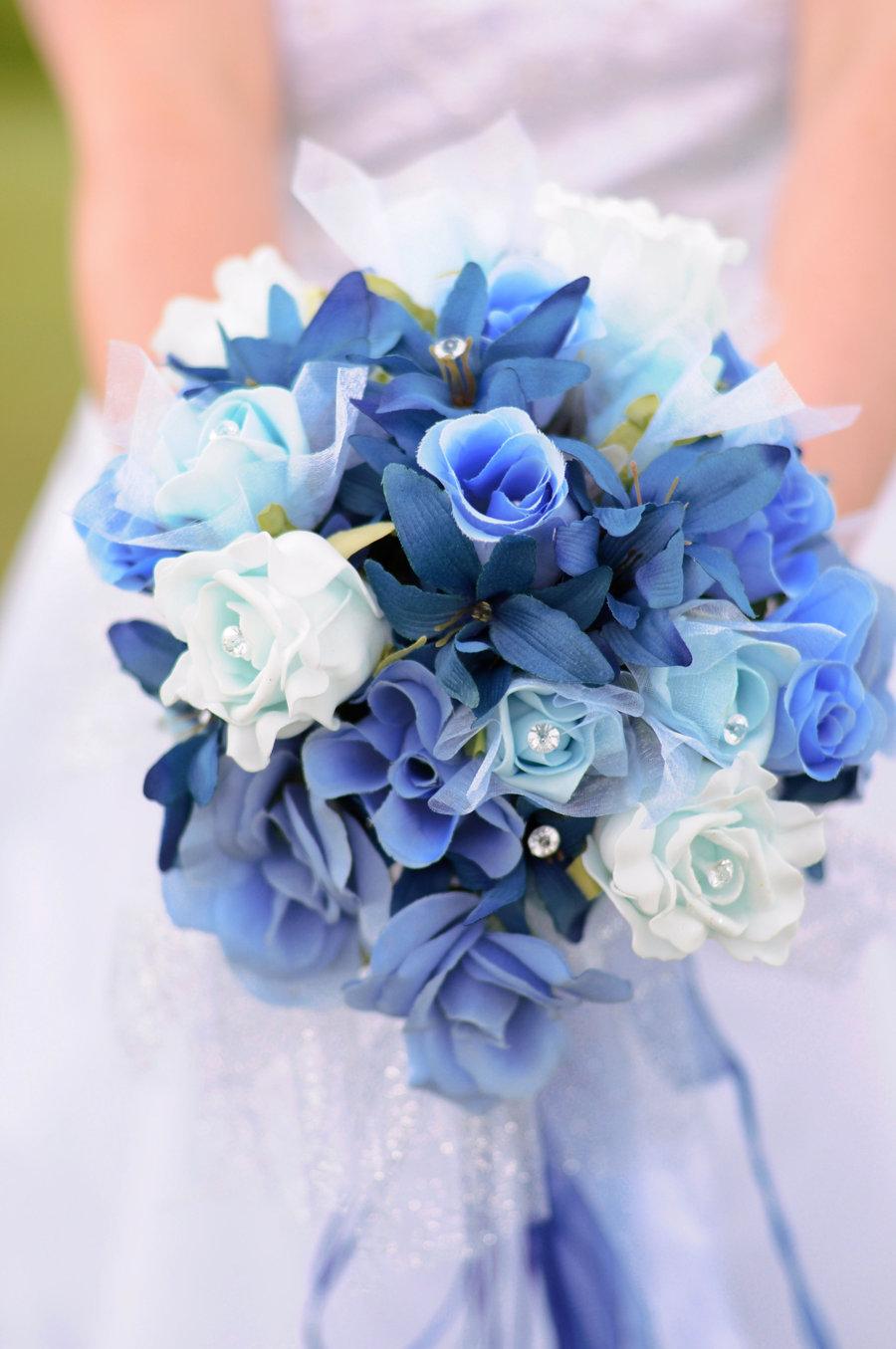 Букеты для свадьбы с синими цветами