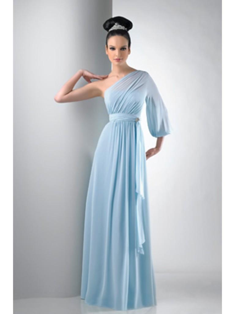 Платья с одним рукавом на свадьбу