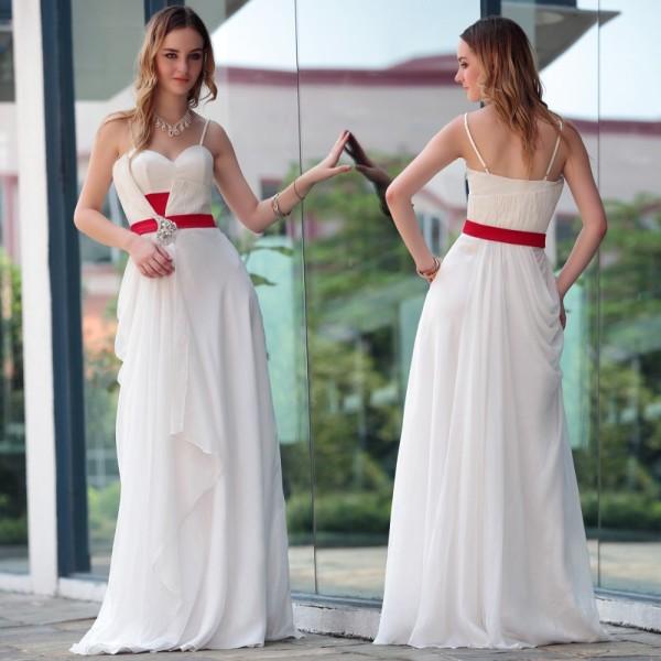 бело красное платье