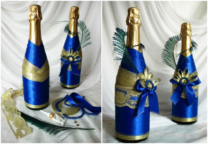 Украсить своими руками шампанское
