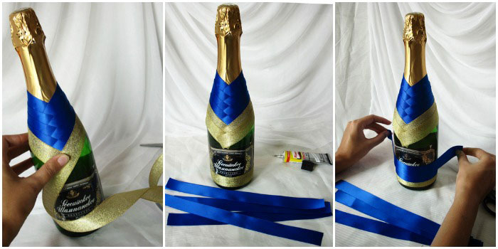 Как из ленты украсить свадебное шампанское своими руками