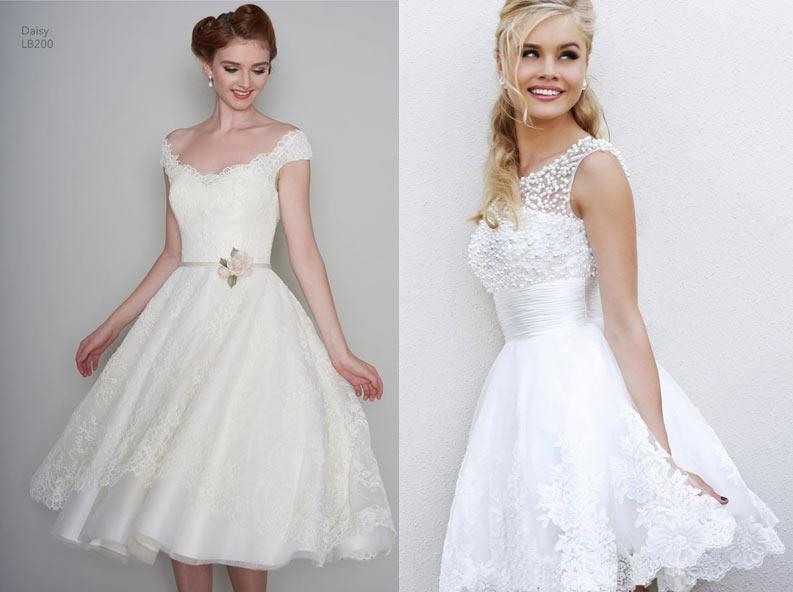 f03414780adf41c Если вы задумали свадьбу в стиле ретро или «стиляг», то чайная длина будет  самой оптимальной. Пышная юбка придаст образу утонченности.